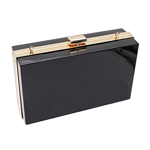 (Onorner Acrylic Evening Handbag Designer Cross-Body Purse Bag Women Cute Transparent Clear See Through Box Clutch (Black))