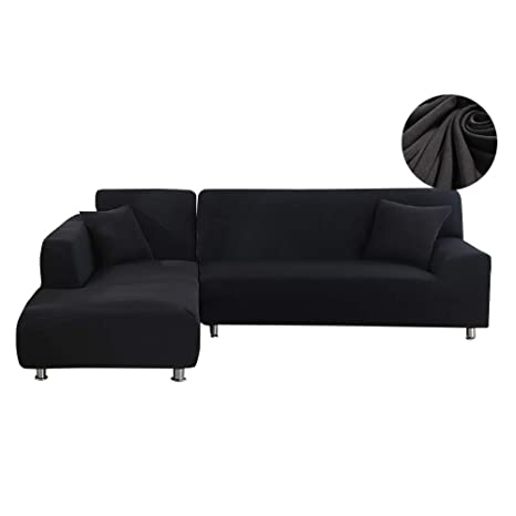 WOMACO L Shape Sofa Covers Sectional Sofa Cover 2 pcs Stretch Sofa Slipcovers for L-Shape Couch (L-Shape 3+3 Seats, Black)