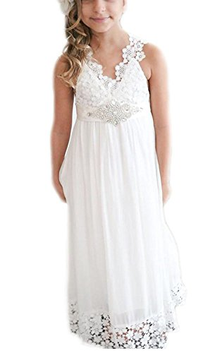 - Gzcdress Beach Flower Girls Dresses Lace Vintage Boho Chiffon Long Communion Dress Simple