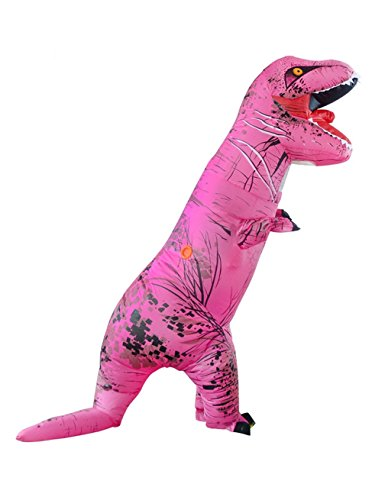 Inflatable Dinosaur Costume Video (Gameyly Adult Colorful Dinosaur Costume T Rex Jurassic Outfit Fuchsia)