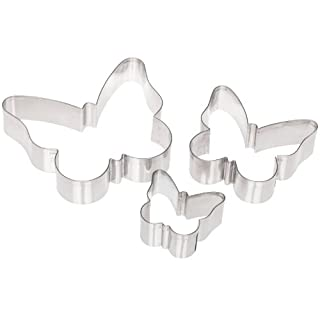 Ateco 5264 Plain Edge Butterfly Cutter Set in Assorted Sizes, Stainless Steel, 3 Pc Set