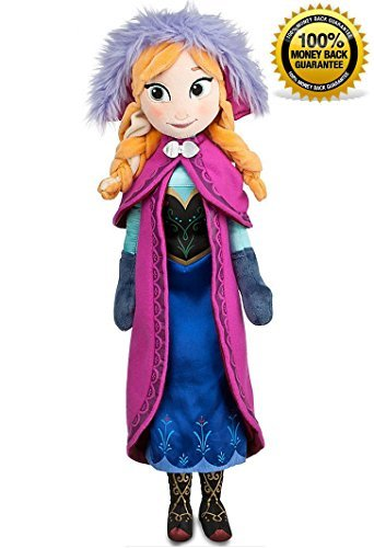 Disney Frozen Princess Anna Soft Plush Doll, 20 inches (50 cm), with Embroidered Features, Satin shoes, Shimmering Fabric Dress, Plush Cape with Decorative Printed Trim and Soft Metallic Clasp, Satin Dress and Boots with Screen Art Detailing, Satin Hat with Faux Fur (Princess Anna From Frozen)