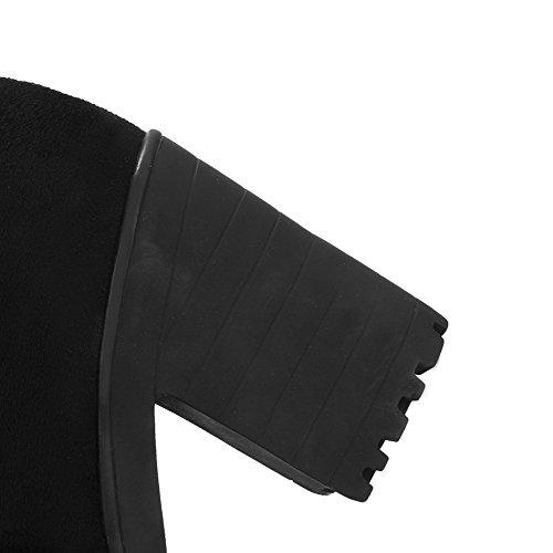 AllhqFashion Mujer Esmerilado Sin cordones Puntera Redonda Tacón Alto Tachonado Botas Negro