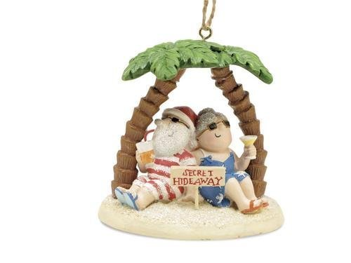 (Santa & Mrs. Claus Island Secret Hideaway Palm Ornament)