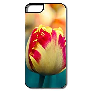 IPhone 5S Cases, Yellow Red Tulips Protector For IPhone 5 5S - White/black Hard Plastic