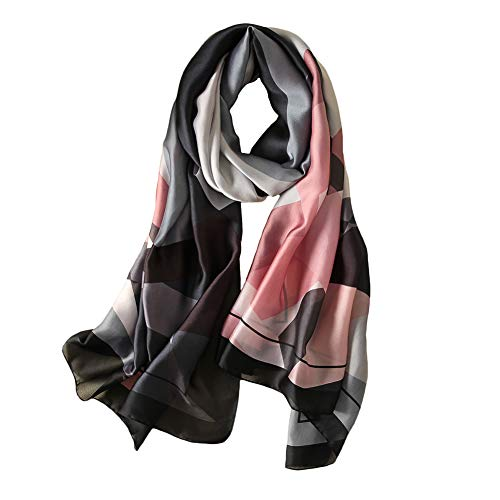 100% Silk Scarf - Women's Fashion Large Sunscreen Shawls Wraps - Lightweight Floral Pattern Satin for Headscarf&Neck (Geometric Pattern-black)