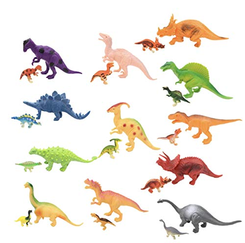 12Pcs of 7'' Large Plastic Dinosaur Toys and 12Pcs of 1'' Small Dinosaur Figures With Dinosaur History Book and Stencils (Best Pokemon Card In History)