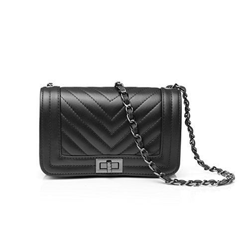 Flap 5 Leather Almo With OnThe Inches 2x8 Genuine Black In Details Woman Crossbody Stitch Bag 3 6pR4npqa
