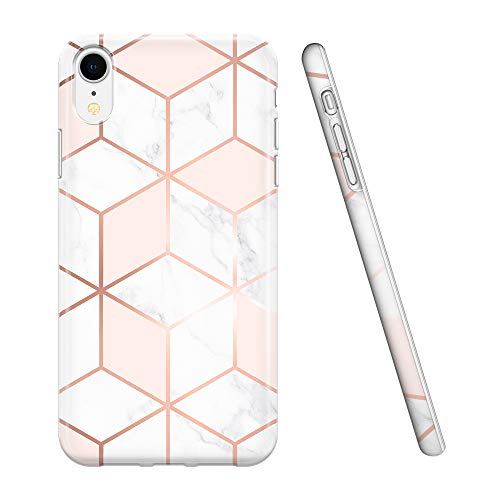 Obbii iPhone XR Case for Girls,Geometric Rose Pink Gold White Marble Design, Shockproof Slim TPU Flexible Soft Silicone Protective Cover Case Compatible with iPhone XR -