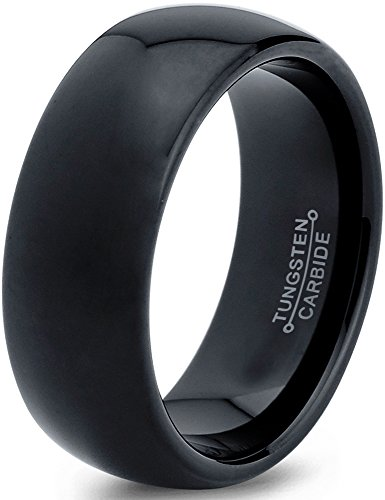 Charming Jewelers Tungsten Wedding Band Ring Black 8mm Men Women Comfort Fit Dome Polished Size 10.5