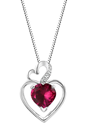 Sterling Silver 925 925 Round Lab-Created Ruby Heart Shaped Pendant Necklace, 18