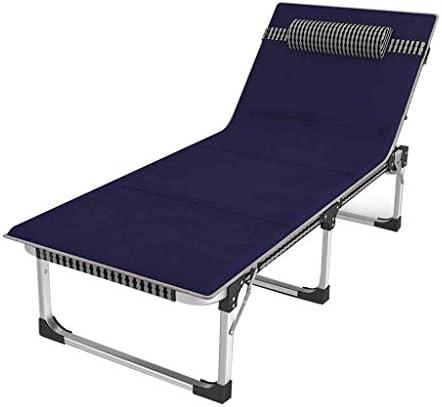 折りたたみベッド 予備のベッド余暇のラウンジチェアオフィスの携帯用仮眠ベッド屋外の折りたたみキャンプのベッド忍耐容量300kg +マットレス (Color : Blue, Size : 128*63*35cm)