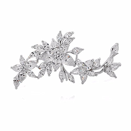 GULICX Silver Plated Base Diamante Zircon Flower Blossom Brooch Badge Pin Classic Design for - Brooch Flower Stone