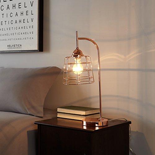 Urban Blush - Urban Shop 784857776829 Caged Metallic Table Lamp, Rose Gold