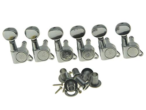 Wilkinson Mini Oval Button 6 Inline Chrome E-Z-LOK Post Guitar Tuners EZ Post Guitar Tuning Keys Pegs Machine Heads