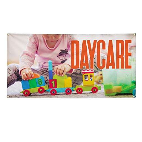 Vinyl Banner Sign Daycare #1 Style B Education Daycare Marketing Advertising White - 16inx40in (Multiple Sizes Available), 4 Grommets, One Banner