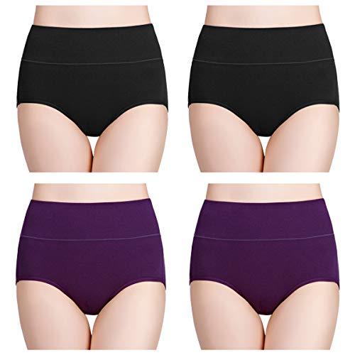 wirarpa Womens High Waisted Cotton Underwear Soft Full Brief Panties Ladies No Ride Up Underpants 4 Pack Black Purple Size 6, Medium