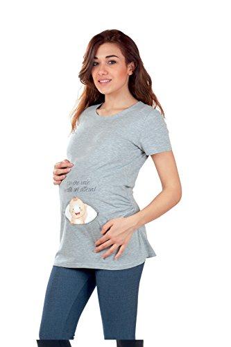 Premamy - Mujer T-Shirt Camiseta Premamá Para Embarazo Y Lactancia De Algodón Media Manga Gris