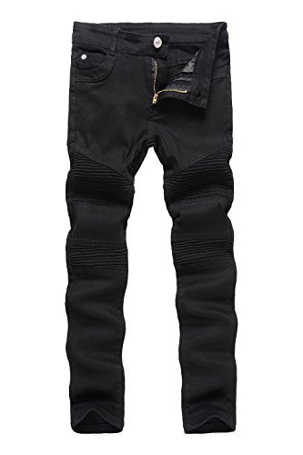 Boy's Black Biker Moto Ripped Distressed Fashion Skinny Slim Fit Jeans 14