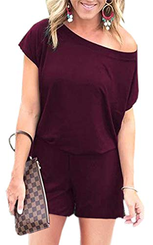 (Angashion Women's Jumpsuits - Crewneck One Off Shoulder Short Sleeve Elastic Waist Romper Playsuits with Pockets 119 Wine Red XL)