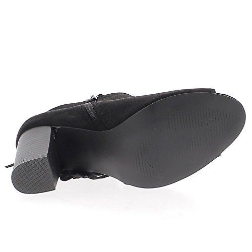 Stivali con tacco 9cm con frange nero aperto