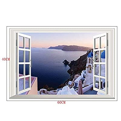 Home Find Fake Window Wall Stickers Santorini Wall Decal 3D Murals View of Scenery Window Frame Glass Wall Stickers Bedroom Girls Room Nursery Removable Vinyl Home Decorations 23 inches x 16 inches: Arts, Crafts & Sewing