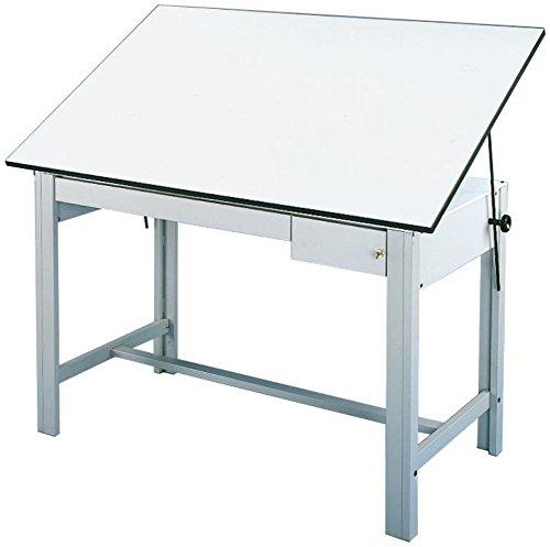 Alvin DM72CT DesignMaster Table, Gray Base/White Top 2 Drawers 37.5