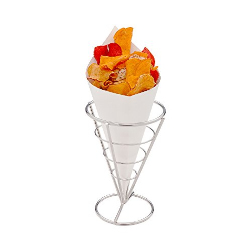 Conetek 10-Inch Eco-Friendly White Finger Food Cones: Perfect for Appetizers – Food-Safe Paper Cone – Disposable and Recyclable – 100-CT – Restaurantware