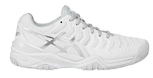 ASICS Women's Gel-Resolution 7 Tennis Shoe, White/Silver, 11 M US