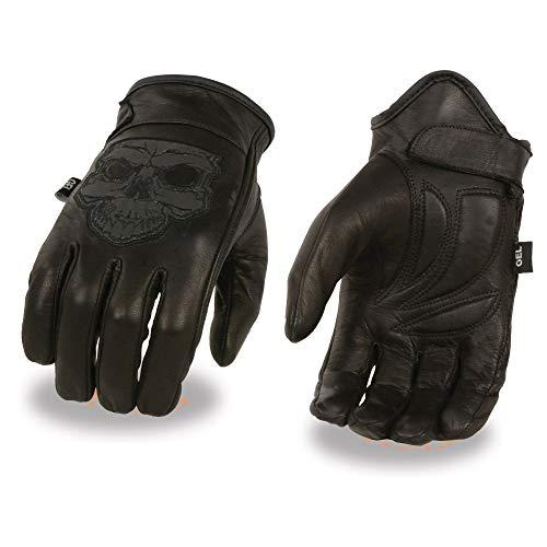 Milwaukee Leather-MG7570-Men's Reflective Skull Premium Leather Short Wrist Gel Palm Driving Gloves - L