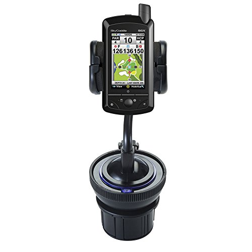 Universal Vehicle Cupholder Adapter with Removable Suction Mount Cradle to Create Windshield Mount for SkyGolf SkyCaddie SGX