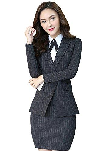 3 Piece Skirt Pant Suit - Women's Three Pieces Office Lady Stripe Blazer Business Suit Set Women Suits for Work Skirt/Pant,Vest and Jacket