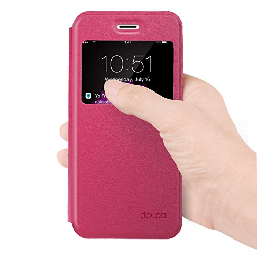 doupi Deluxe FlipCover para iPhone 6 6S ( 4.7 ) con ventana Carcasa Case magnético Funda caso tirón estilo libro Protector de cuero artificial, rojo Rojo