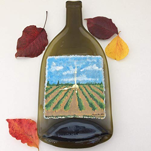 Hand Painted Vineyard Clock - Wall Clock - Wine Reclaimed Glass - Handmade