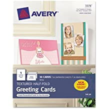 Textured Half-Fold Greeting Cards, Inkjet, 5 1/2 x 8 1/2, Wht, 30/Bx w/Envelopes, Sold as 30 Each