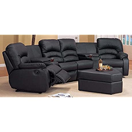 6 Pc Seating Set With Ottoman In Black 720063