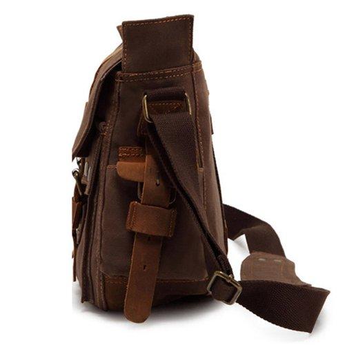 EcoCity British Style Retro Mens Womens Canvas + Leather Messenger Travel Shoulder Bag Bookbags (Khaki)