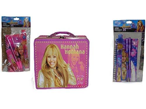 Hannah Montana Lunch Box (New Hannah Montana Tin Case Lunch Box + Stationarionary Set)