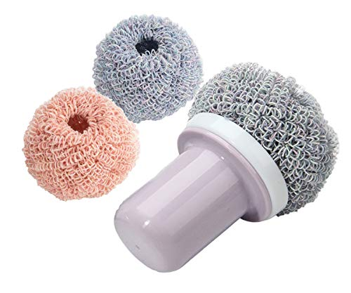 LODY Nano Dish Scrubber Safer than Steel Wool,Antimicrobial Kitchen Sponges with Handle, Amazing Ecological Dish Sponge, Avirulent Insipidity, Non Stick Oil, Non Come Off and Non-Scratch Cooker 2 Pack
