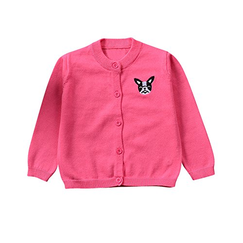 aliveGOT Cute Puppy Stitchwork Toddler Kid Boys Girls Clothes Knitted colorful Solid Sweater Cardigan Coat (,Hot Pink, 18 Months)