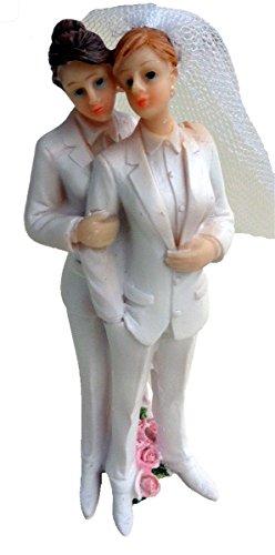 (December Diamonds 2 Brides In Tuxedos Cake Topper or Figurine)