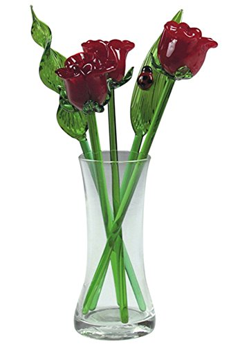 Crystal Glass Flower Blossom Bouquet with Vase, Gift Boxed - Red ()
