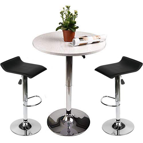 - Adjustable Height Bar Table Set Round Bar Table and Chairs with Chrome Metal and Wood Cocktail Pub Table MDFTop 360°Swivel Furniture for Home Kitchen and Bistro