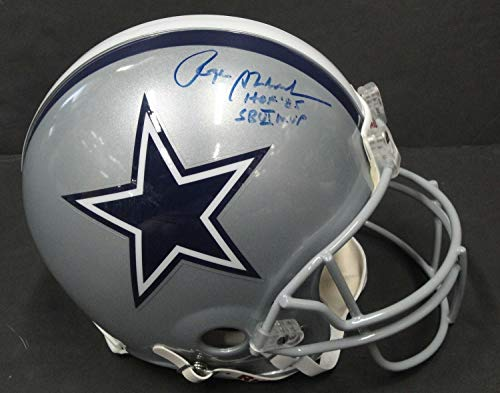 (Roger Staubach Hand Autographed Signed Autograph Full Size Football Helmet Dallas Cowboys JSA Authentic)