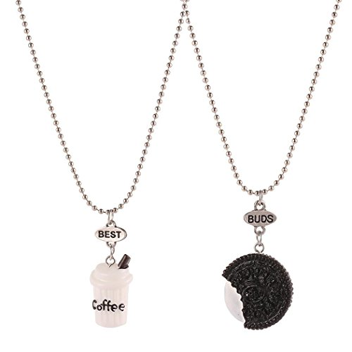 MYEDO Coffee Cookies Girl Cute Beads Pendants Necklace (Oreo)