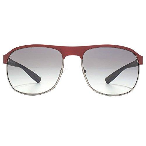 Prada Sport caoutchouc demi jante aviator lunettes de soleil à bordeaux PS 51QS TWM3M1 60 Brown Gradient