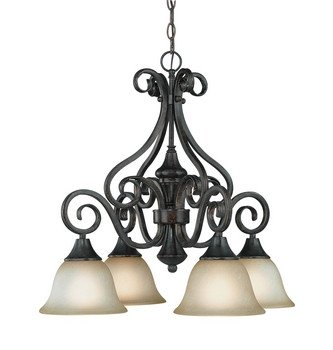 Tone Bronze Finish Burnished (Craftmade Lighting 24924-BA Torrey - Four Light Down Chandelier, Burnished Armor Finish with Etched Painted Glass)