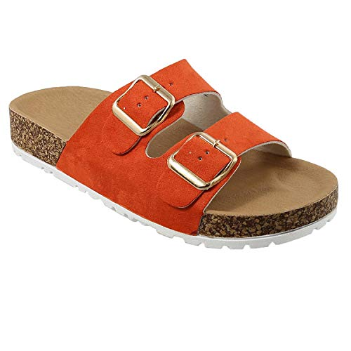 Women's Double Strap Buckle Cork-Like Footbed Sole Slide Sandals