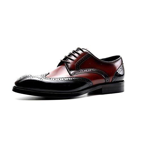YIWANGO Scarpe Eleganti da Lavoro Primaverili E Autunnali Scarpe Casual da Uomo Intagliate A Punta Britanniche Red