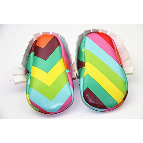 Baby Boys Girls Rainbow Pu Leather Soft Sole Moccasins Crib Shoes 12-18 Months